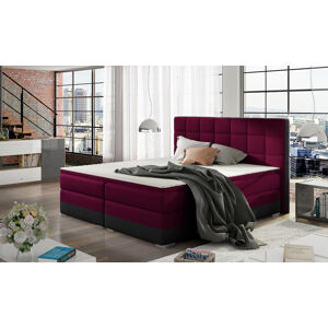 NABBI Dalino 160 čalúnená manželská posteľ s úložným priestorom vínová / čierna