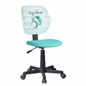 TEMPO KONDELA Blues detská stolička na kolieskach mentolová / vzor / čierna