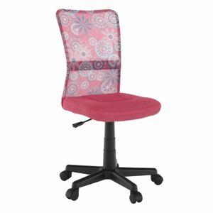 TEMPO KONDELA Gofy detská stolička na kolieskach ružová / vzor / čierna