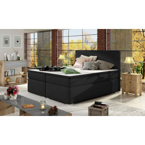 NABBI Diana 160 čalúnená manželská posteľ s úložným priestorom čierna (Sawana 14)