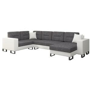 NABBI Duero L rohová sedačka u s rozkladom a úložným priestorom sivá (Sawana 05) / biela (Soft 17)