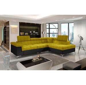 NABBI Enna P rohová sedačka s rozkladom a úložným priestorom žltá / čierna