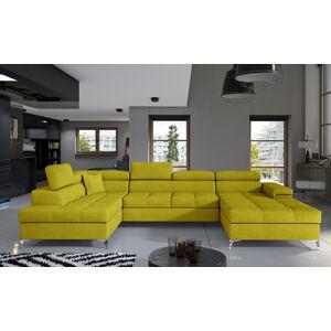 NABBI Enrico U L rohová sedačka u s rozkladom a úložným priestorom žltá