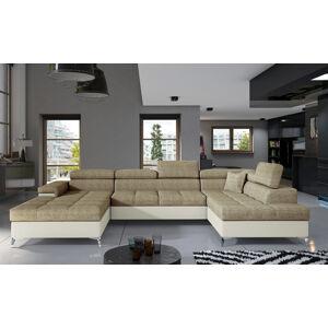 NABBI Enrico U P rohová sedačka u s rozkladom a úložným priestorom cappuccino / béžová