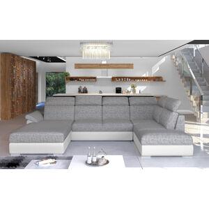 NABBI Ermo U L rohová sedačka u s rozkladom a úložným priestorom sivá (Berlin 01) / biela (Soft 17)