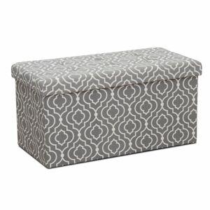 TEMPO KONDELA Fargo taburetka s úložným priestorom sivá / biely vzor