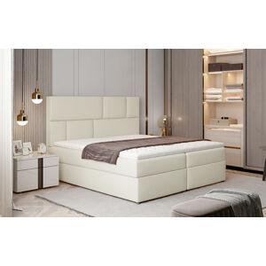NABBI Ferine 145 čalúnená manželská posteľ s úložným priestorom béžová