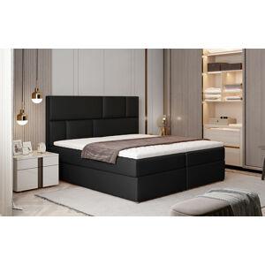 NABBI Ferine 145 čalúnená manželská posteľ s úložným priestorom čierna (Soft 11)