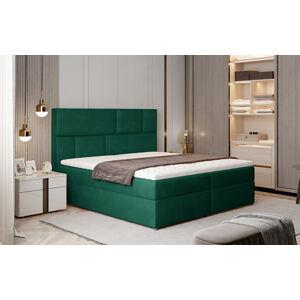 NABBI Ferine 145 čalúnená manželská posteľ s úložným priestorom tmavozelená