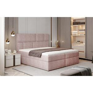 NABBI Ferine 165 čalúnená manželská posteľ s úložným priestorom ružová