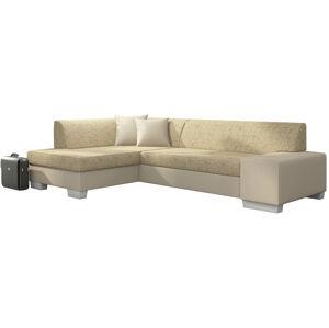 NABBI Ferol L rohová sedačka s rozkladom a úložným priestorom cappuccino / béžová
