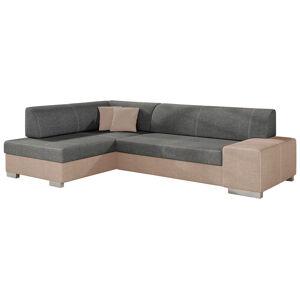NABBI Ferol L rohová sedačka s rozkladom a úložným priestorom sivá / béžová