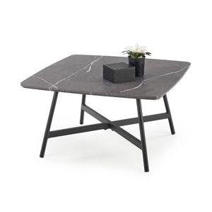 HALMAR Ferrara konferenčný stolík sivý mramor / čierna