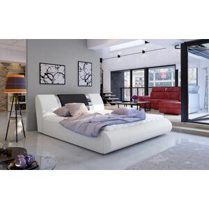 NABBI Folino 160 čalúnená manželská posteľ s roštom biela / čierna