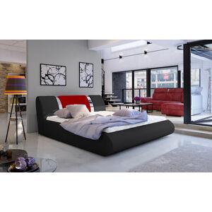 NABBI Folino 180 čalúnená manželská posteľ s roštom čierna / červená