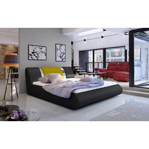 NABBI Folino 180 čalúnená manželská posteľ s roštom čierna / žltá