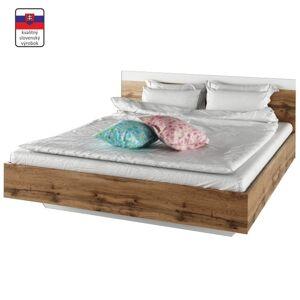 TEMPO KONDELA Gabriela 180 manželská posteľ dub wotan / biela