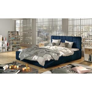 NABBI Galimo UP 140 čalúnená manželská posteľ s roštom tmavomodrá