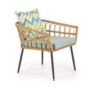 HALMAR Gardena 1S záhradná stolička prírodná / sivá / čierna / kombinácia farieb