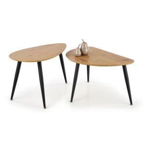 HALMAR Geneva 2 konferenčný stolík (2 ks) dub zlatý / čierna