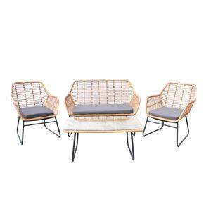 NABBI Gomera záhradný nábytok z umelého ratanu béžová / sivá