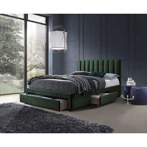 HALMAR Grace 160 čalúnená manželská posteľ s úložným priestorom tmavozelená (Velvet)