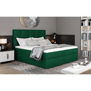 NABBI Grosio 145 čalúnená manželská posteľ s úložným priestorom tmavozelená