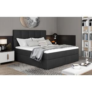NABBI Grosio 165 čalúnená manželská posteľ s úložným priestorom čierna (Monolith 97)
