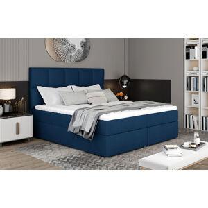 NABBI Grosio 165 čalúnená manželská posteľ s úložným priestorom tmavomodrá