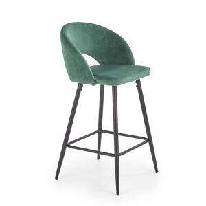 HALMAR H-96 barová stolička tmavozelená / čierna