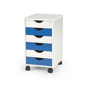 HALMAR Beppo 2 kontajner na kolieskach biela / biely lesk / modrý lesk