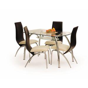 HALMAR Corwin BIS sklenený jedálenský stôl priehľadná / chrómová
