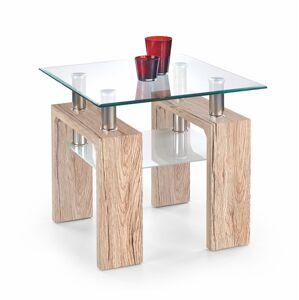 HALMAR Diana H Kwadrat sklenený konferenčný stolík dub san remo / priehľadná / mliečna