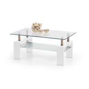 HALMAR Diana Intro sklenený konferenčný stolík biely lesk / priehľadná / mliečna