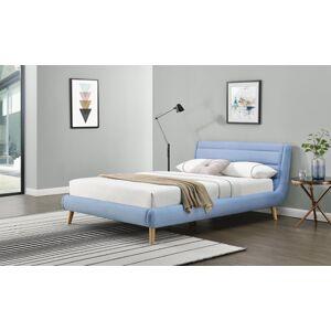 HALMAR Elanda 160 čalúnená manželská posteľ s roštom svetlomodrá