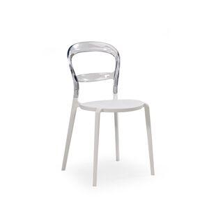 HALMAR K100 jedálenská stolička biela / priehľadná