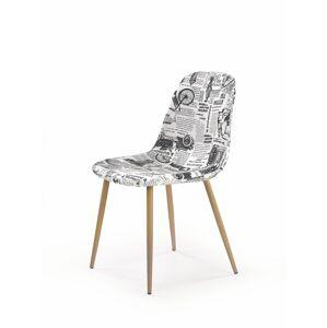 HALMAR K220 jedálenská stolička vzor noviny / dub medový