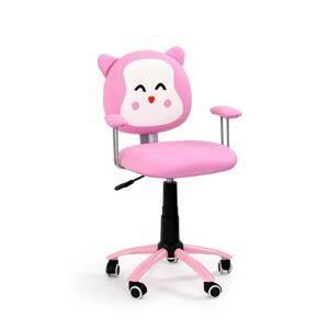 HALMAR Kitty detská stolička na kolieskach s podrúčkami ružová / biela