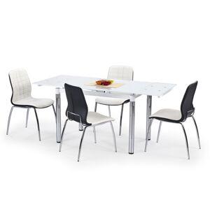 HALMAR L31 sklenený rozkladací jedálenský stôl biela / chróm