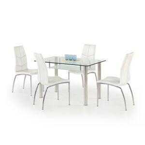HALMAR Olivier sklenený jedálenský stôl priehľadná / mliečna / nerezová