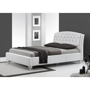 HALMAR Sofia 160 čalúnená manželská posteľ s roštom biela