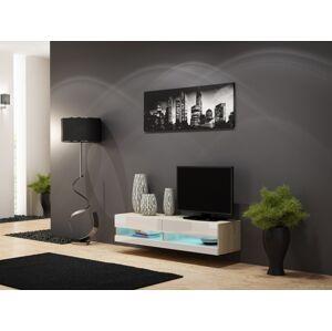CAMA MEBLE Vigo New 140 tv stolík na stenu dub sonoma / biely lesk