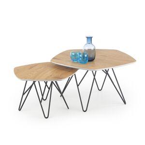 HALMAR Zero konferenčný stolík (2 ks) dub zlatý / biely lesk / čierna