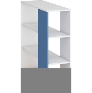 MEBLOCROSS Hey Hey-05 univerzálny regál k posteli dub artisan / biela / modrá
