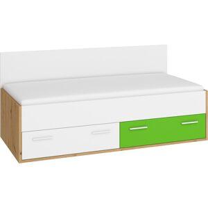 MEBLOCROSS Hey Hey-10 90 jednolôžková posteľ s roštom dub artisan / biela / zelená