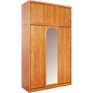 MEBLOCROSS Kamma 6D šatníková skriňa s posuvnými dverami a zrkadlom jelša