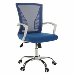 TEMPO KONDELA Izolda kancelárske kreslo s podrúčkami modrá / biela / chróm