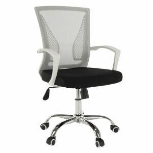 TEMPO KONDELA Izolda kancelárske kreslo s podrúčkami sivá / čierna / biela / chróm
