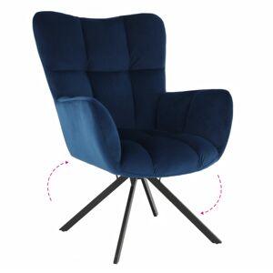 KONDELA Komodo dizajnové otočné kreslo modrá (Velvet) / čierna