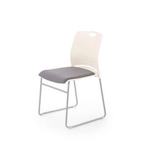 HALMAR Cali konferenčná stolička biela / sivá / chróm